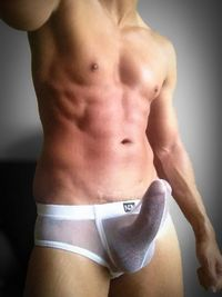 A see thru underwear/bathing suit with the flexibility to adjust for an erection