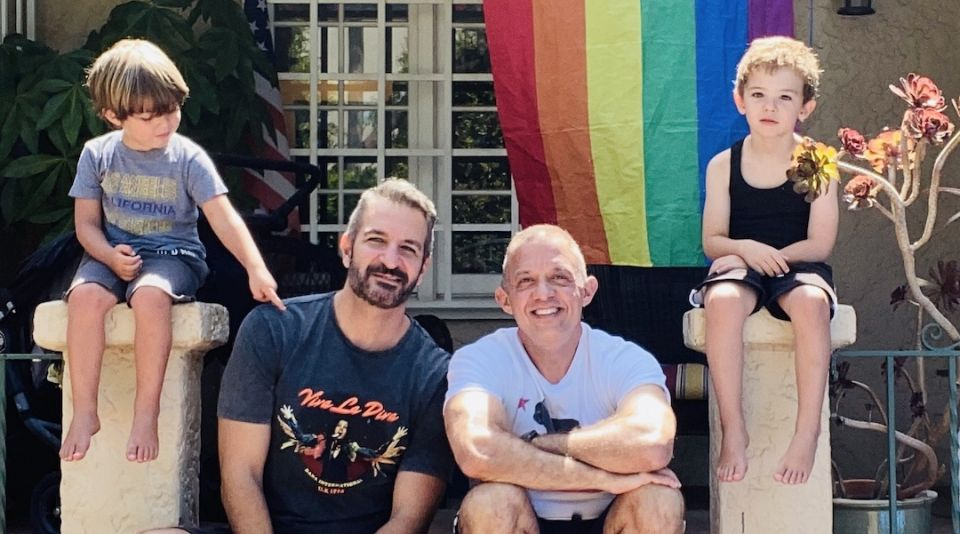 Maghen/Dekels family: The same sex couple who had twin boys through surrogacy enjoying Pride 2021 outside their home in California