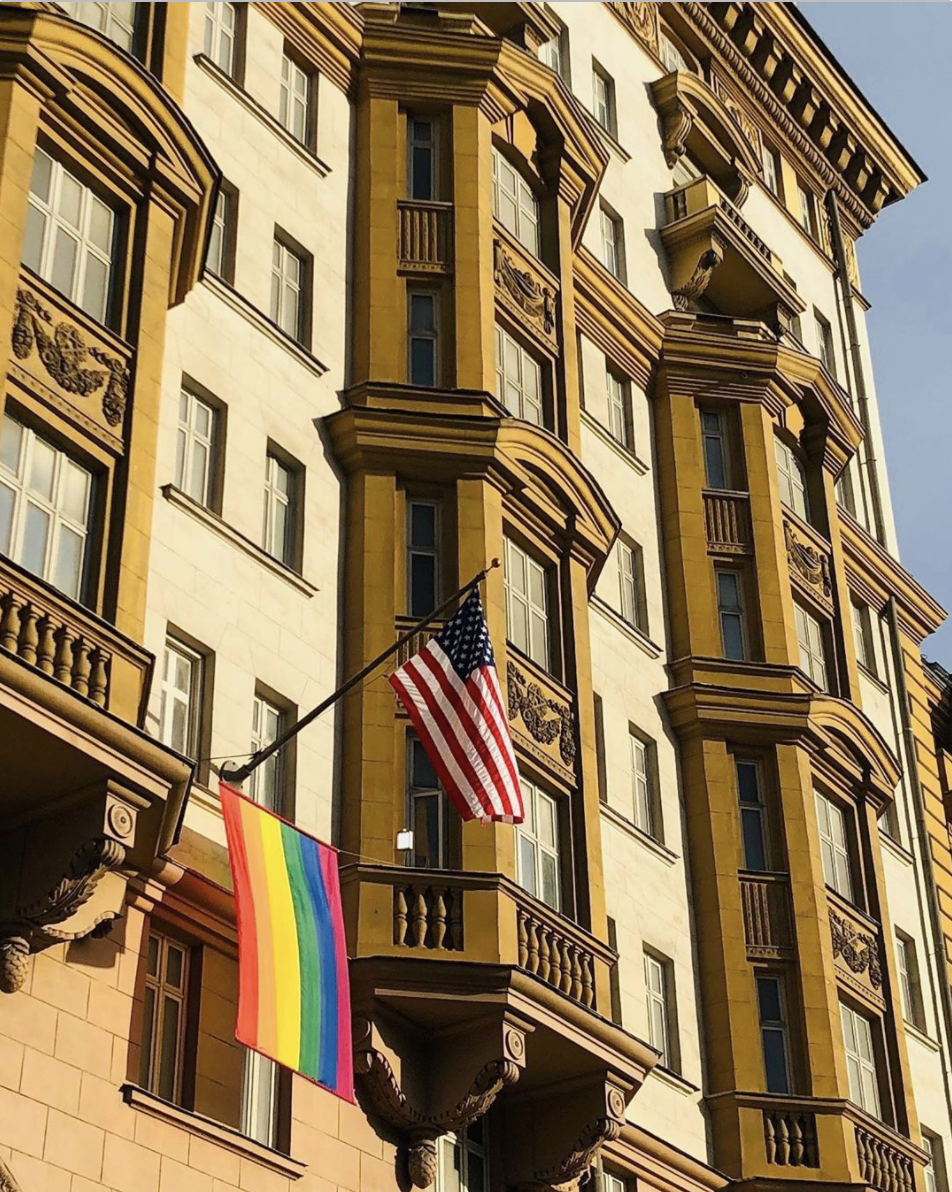 US Embassy in Moscow Flying Pride Flag with the American flag for pride