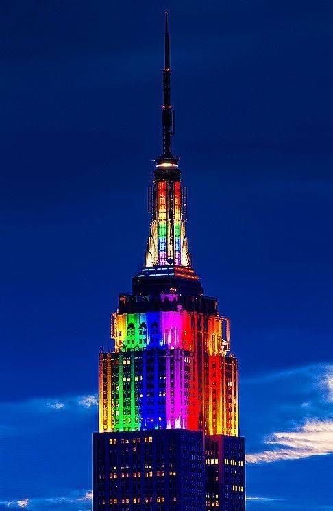 The Empire State Building Illuminated in the rainbow colors celebrating World GAY Pride 2020