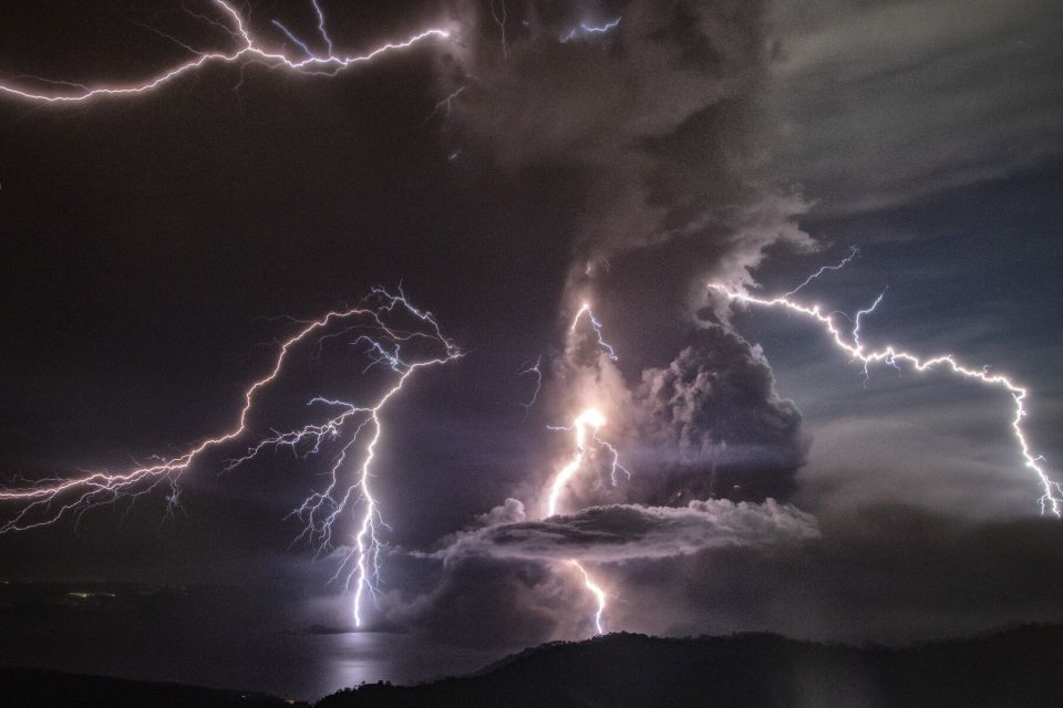 Lightening at the Taal Volcano kn Philippines January 2020