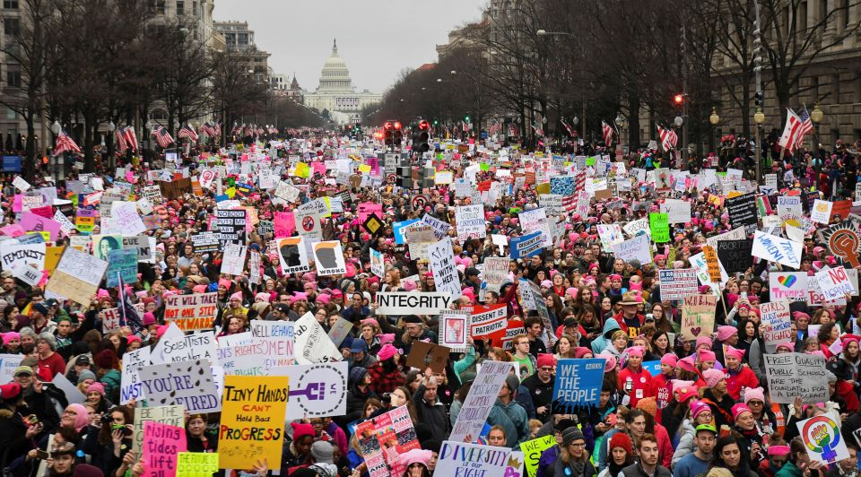 Women March in Washington DC after Trump'selection in Jnauary 2017