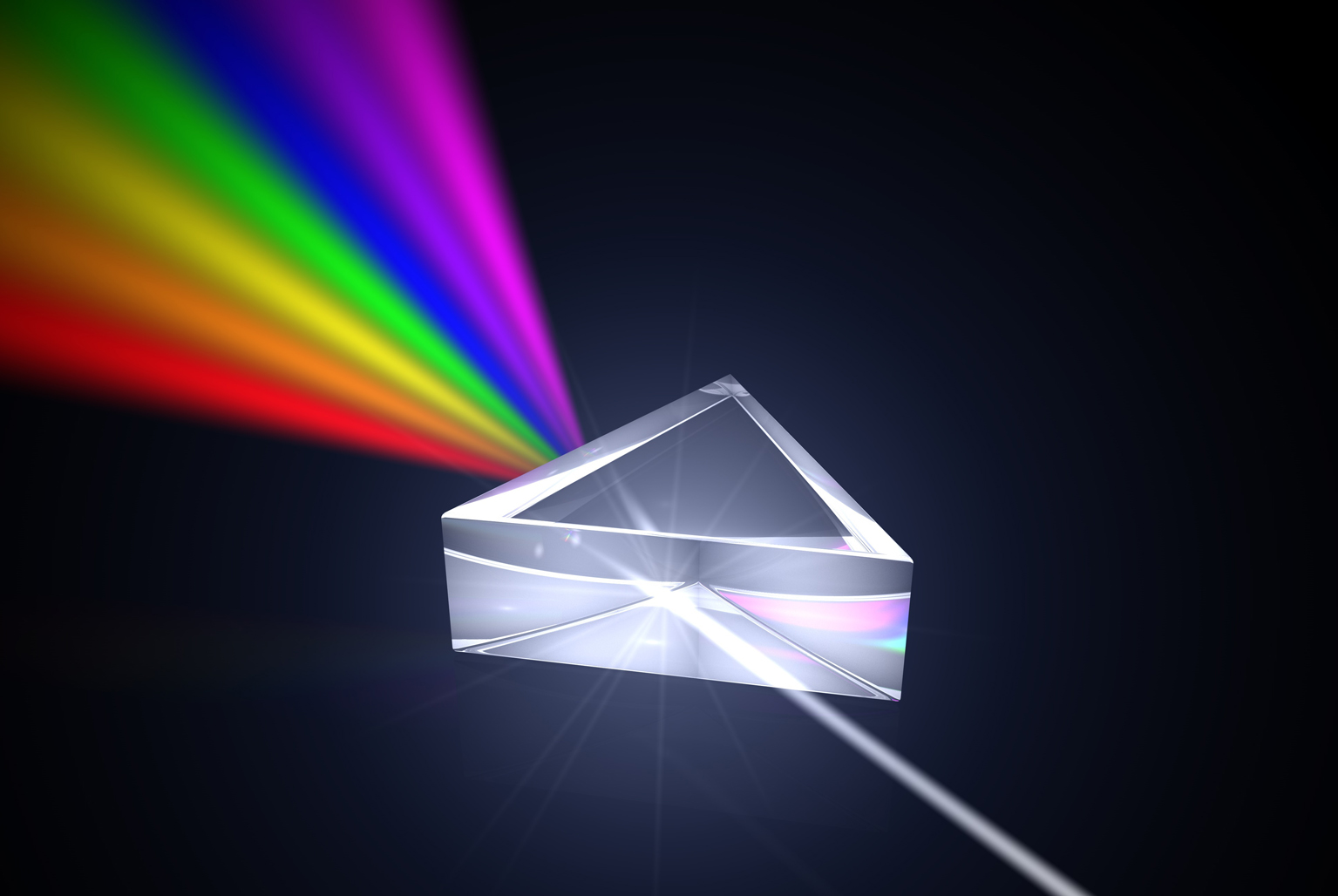 light split into spectrum by prism