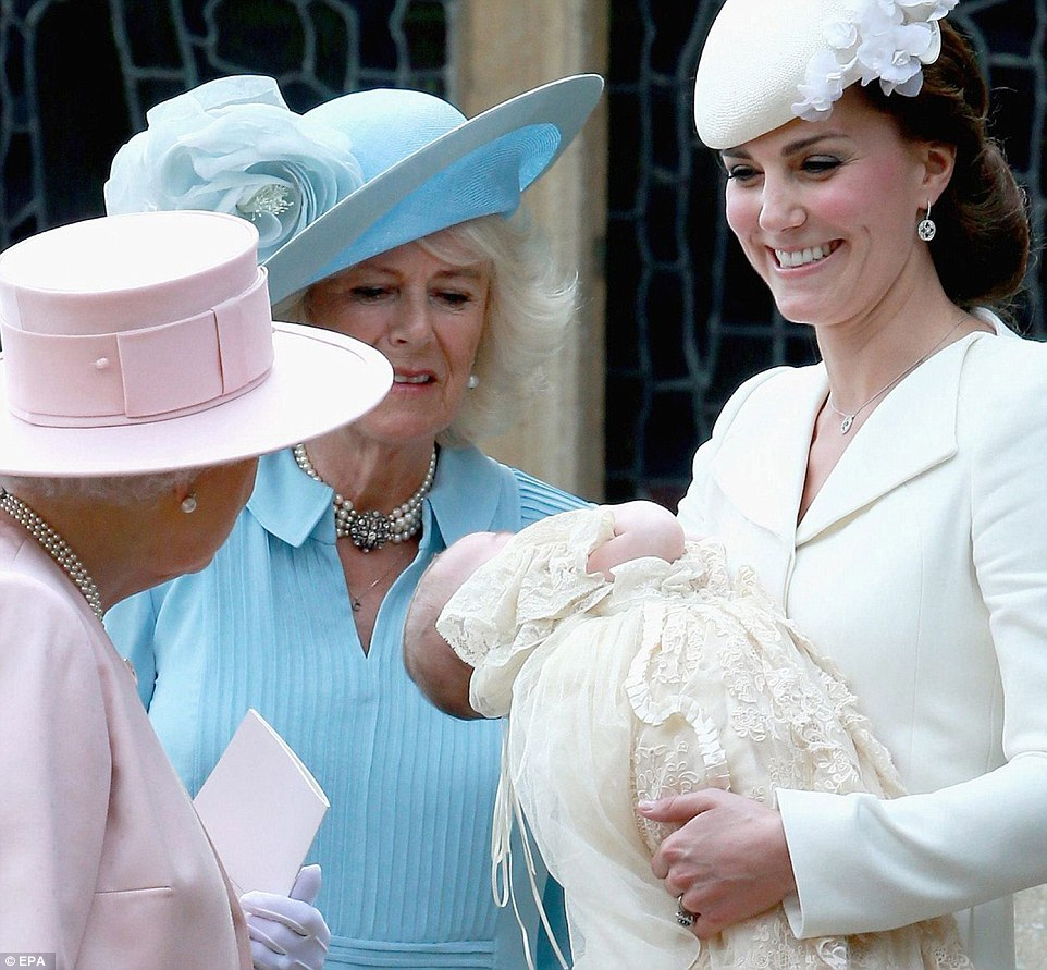 Kate showing Princess Charlotte to Queen Elizabeth and Camilla Duchess of Cambridge