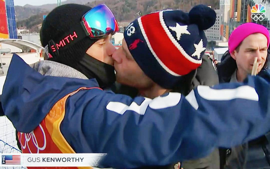 Gus Kenworthy Kissing Matthew Wilkas during Olympics