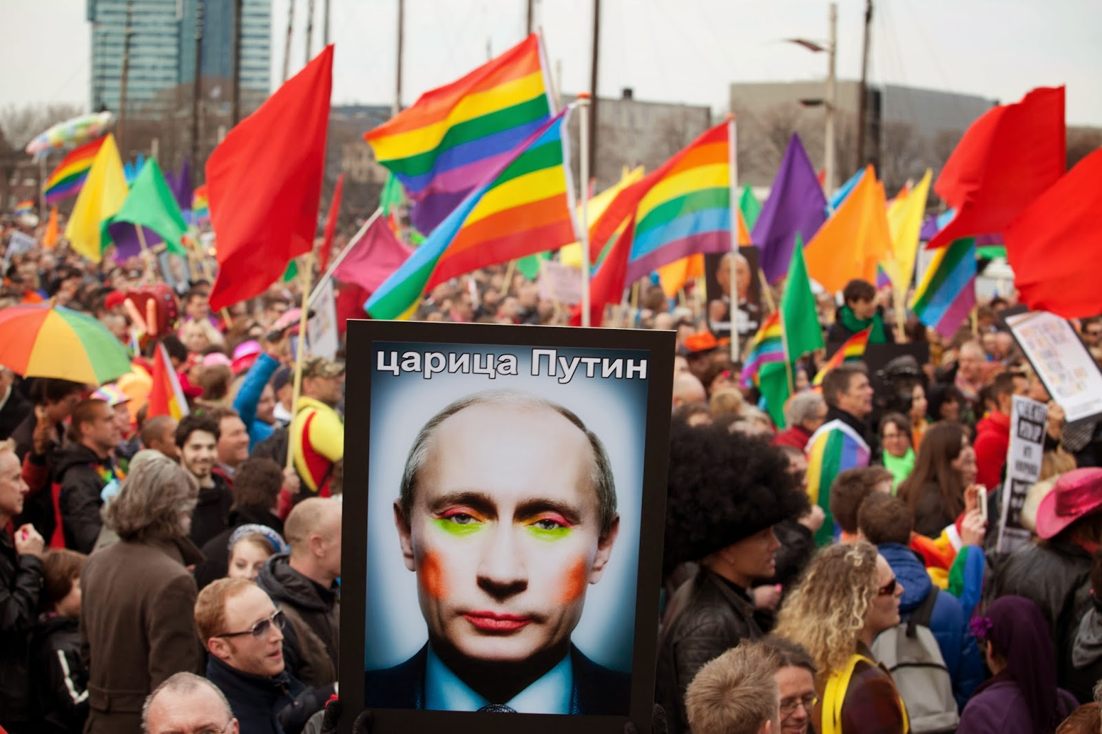 Russia gay activists protest