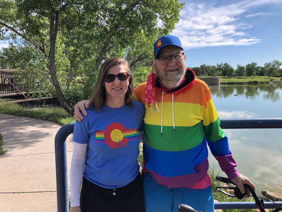 Felts with his daughter Rebecca Mayes after they participated in the 2020 Denver Pride Virtual 5K on June 20. 1