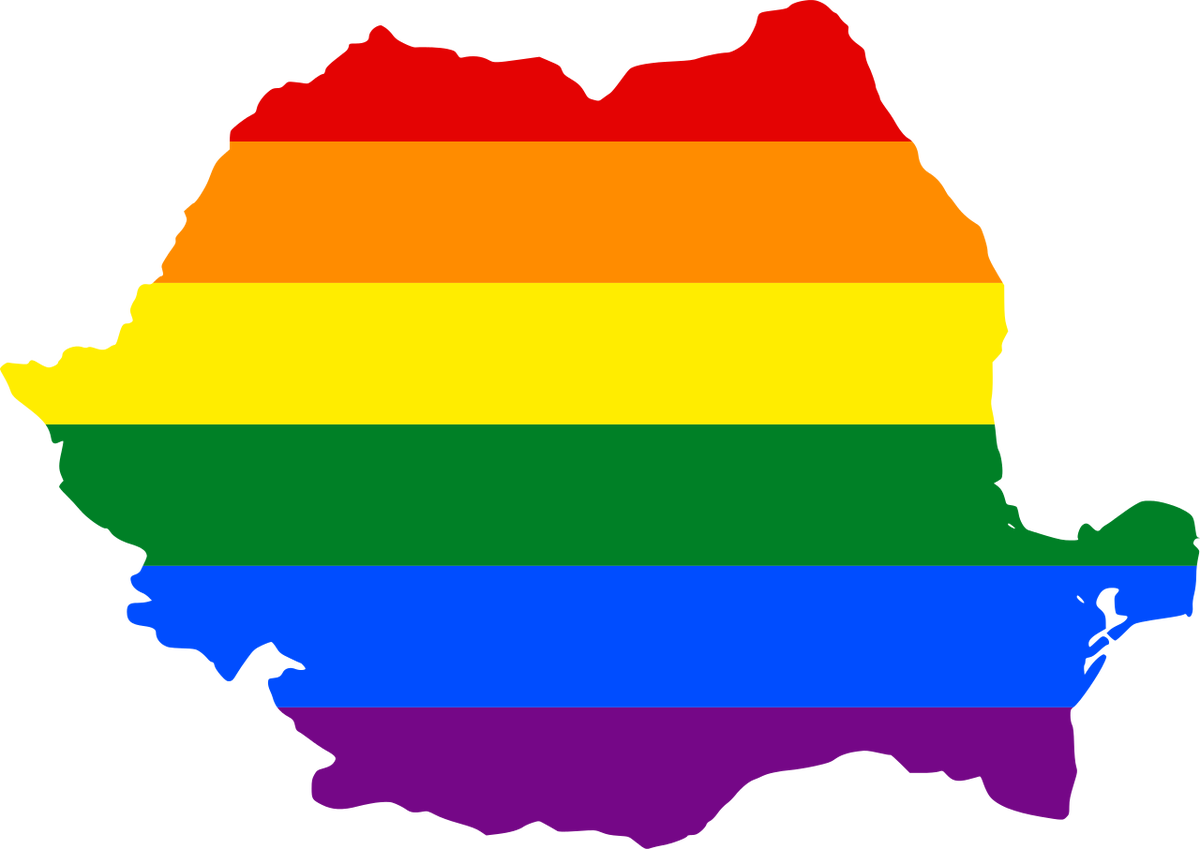 lgbt flag map of romania