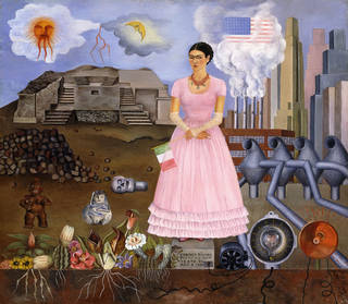 Frida Self Portrait in Mexico US border
