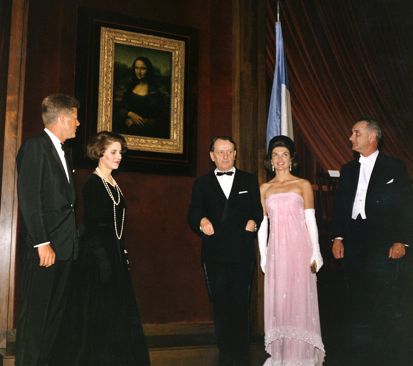 JFK Marie Madeleine Lioux André Malraux Jackie LB Johnson unveiling Mona Lisa at National Gallery of Art