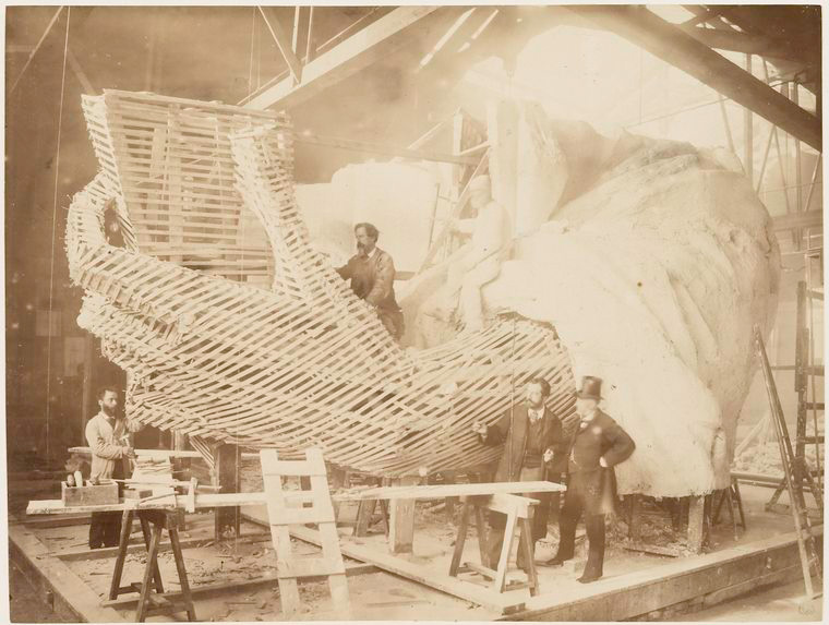 Construction of the skeleton and plaster surface of the left arm and hand of the Statue of Liberty 1883