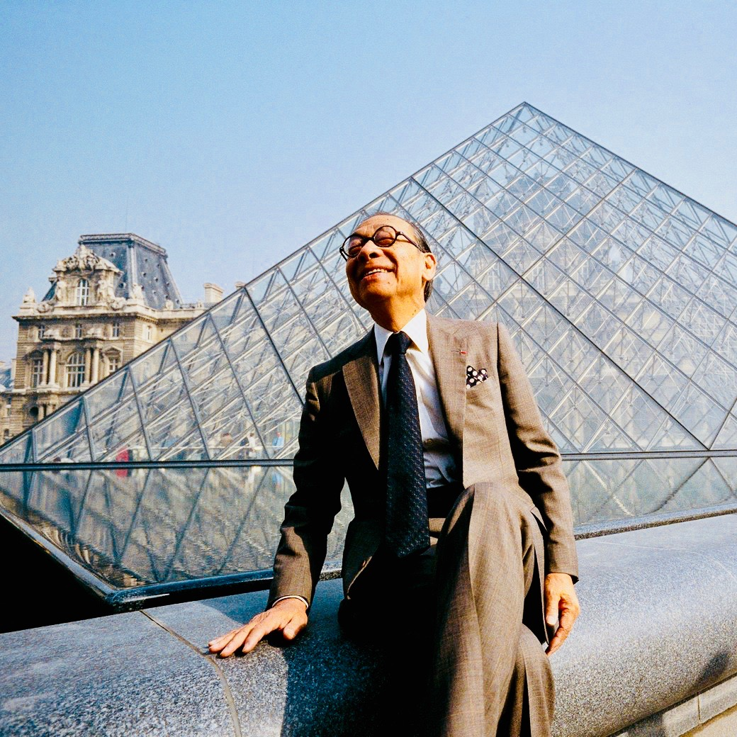 I M Pei in Louvre by the Pyramid 2