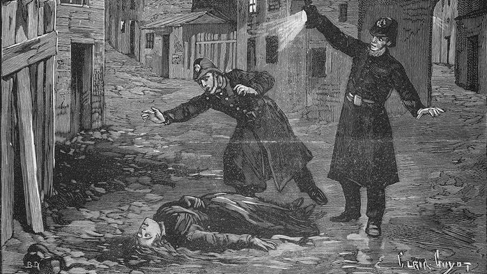 Historica Image of Police Discovering a Murder Victim of Jack the Ripper