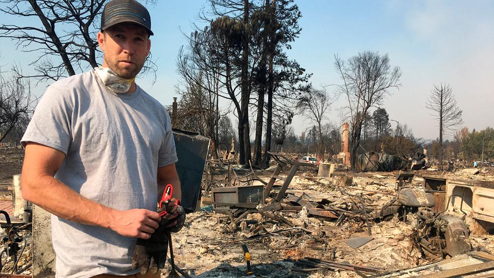 Ryan Nelson resident goes through ruins