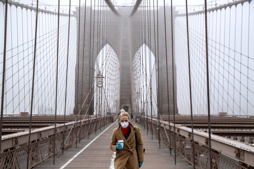 Brooklyn Bridge new york city quarantine GettyImages 1207839451