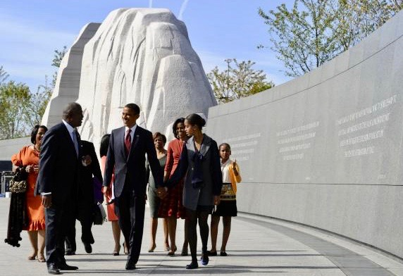 Obama Family at MLK Monument 2