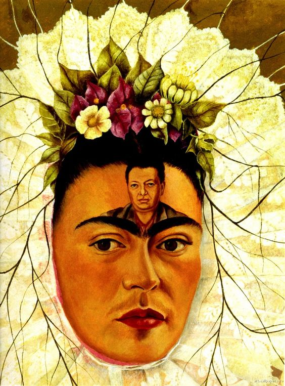 Frida Kahlo with Image of Diego Rivera