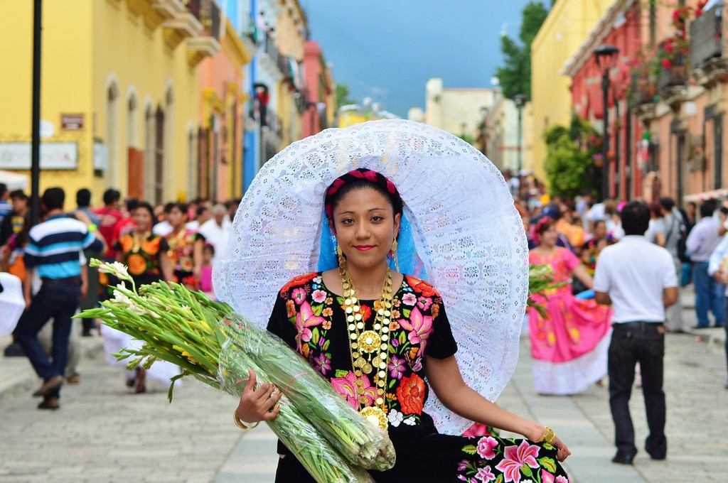 Tehuana with Flowers in Streets of Oaxaca