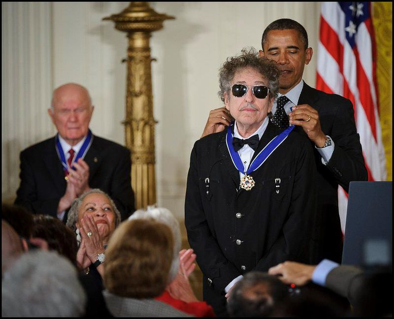 President Barack Obama presents American musician Bob Dylan with a Medal of Freedom May 2012