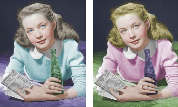 Green and Pink Girl Colorized