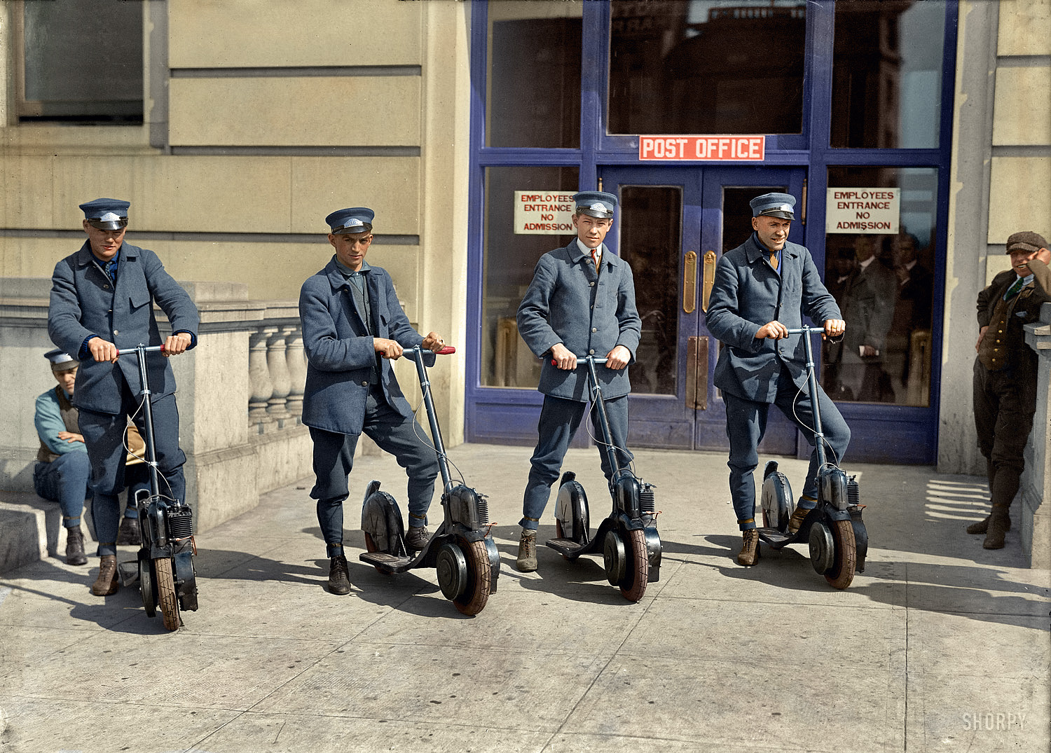 Post Officers Model their new Aiutopeds Scooters 1917