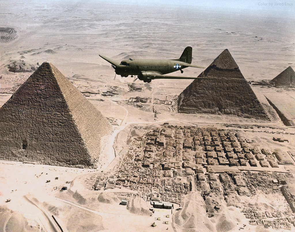 US Army C 47 flying Over Giza Pyramids Egypt 1943
