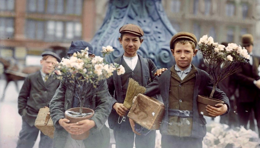 Boys Buying Flowers 1908