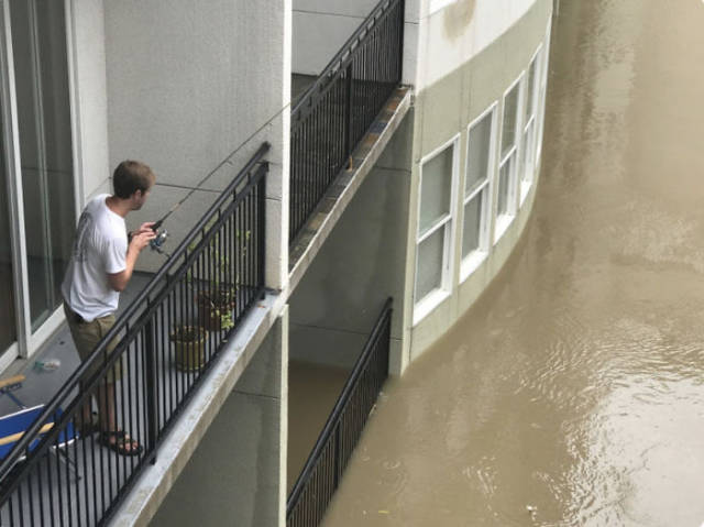 looking from terrace flooded building