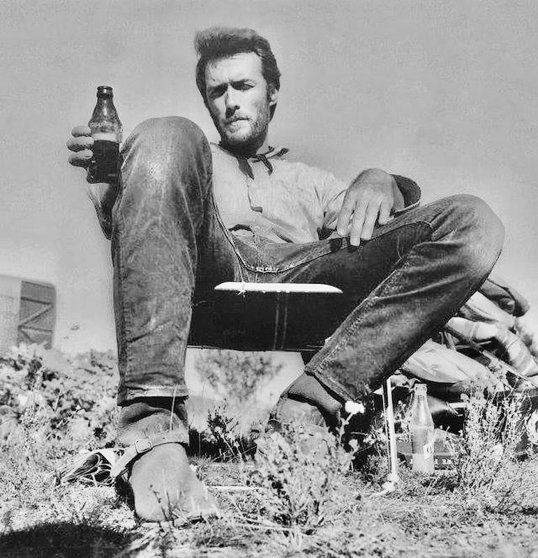 Clint Eastwood taking a break on the set of The Good The Bad and The Ugly 1966