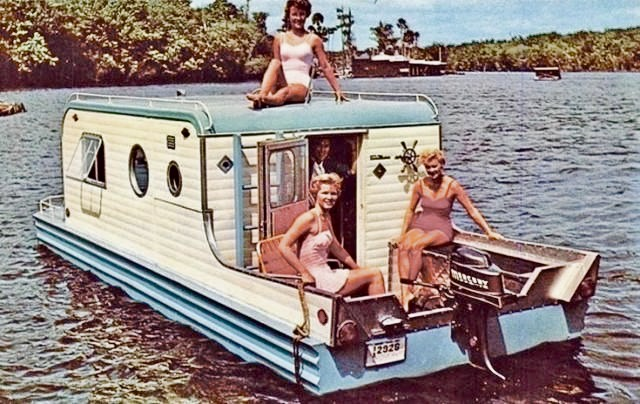 Heres a groovy camper boat from the early 1960s
