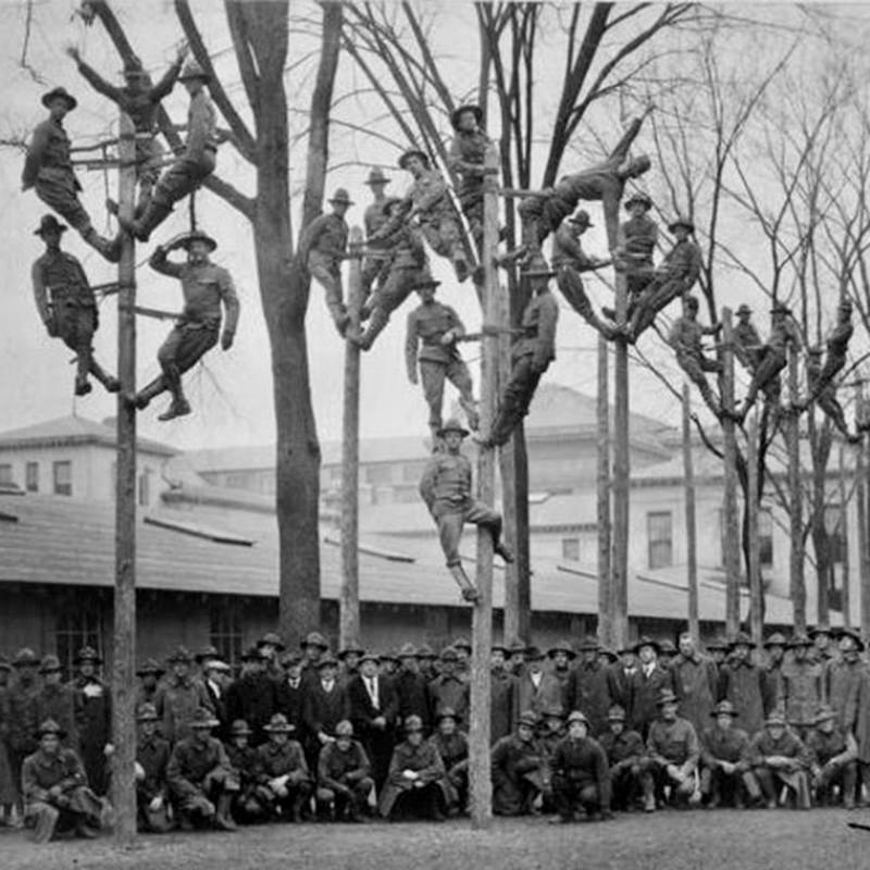 Heres a pole climbing class for telephone electricians back in 1918