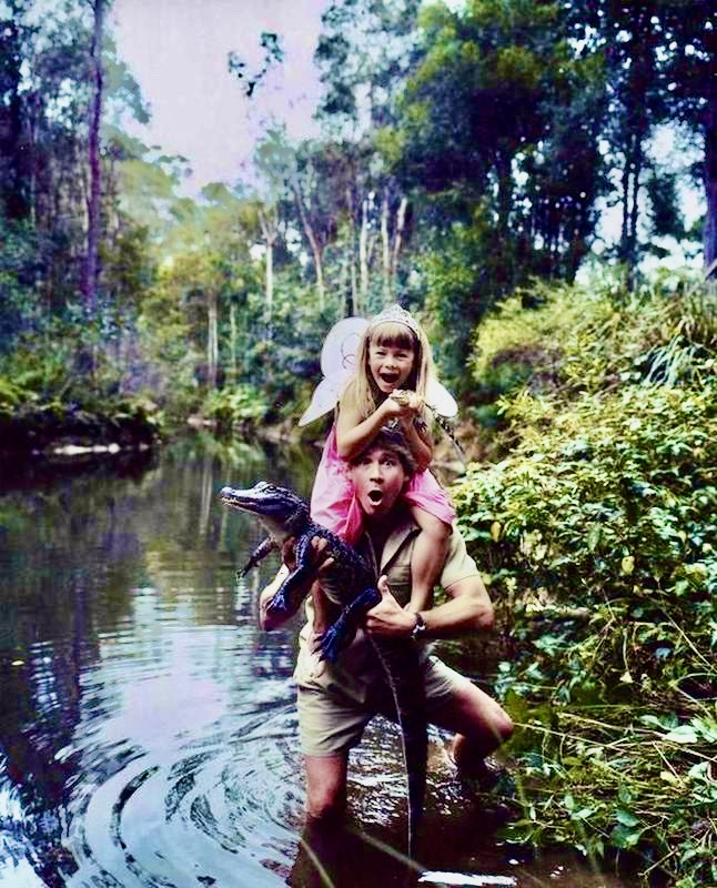 Steve Irwin with his daughter Bindi in a photograph taken by Hugh Stewart