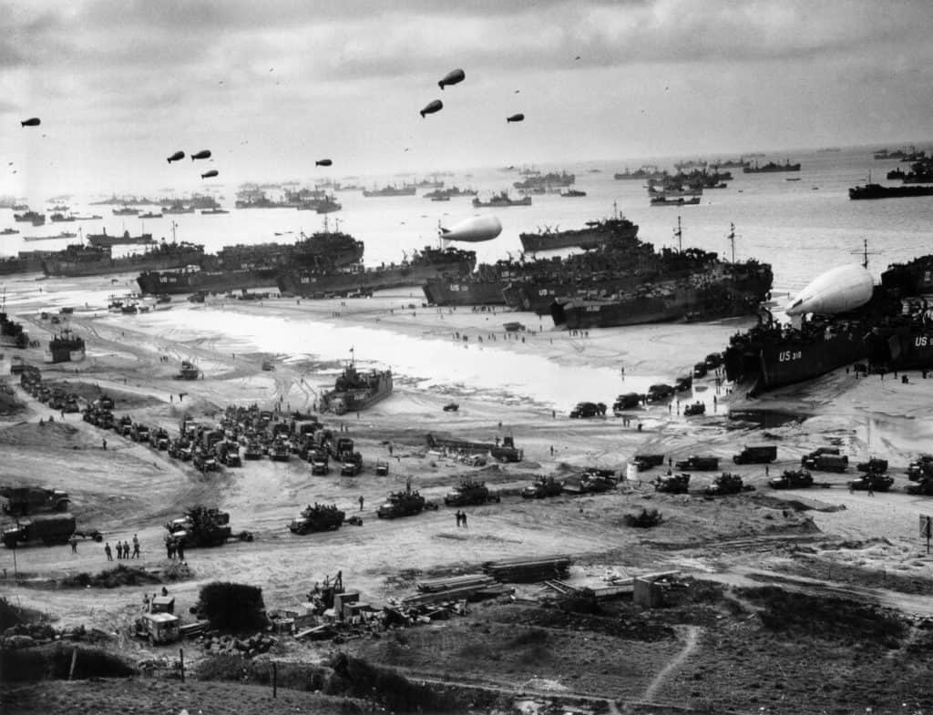 Normandy Ships Bringing Supplies Supply after landing