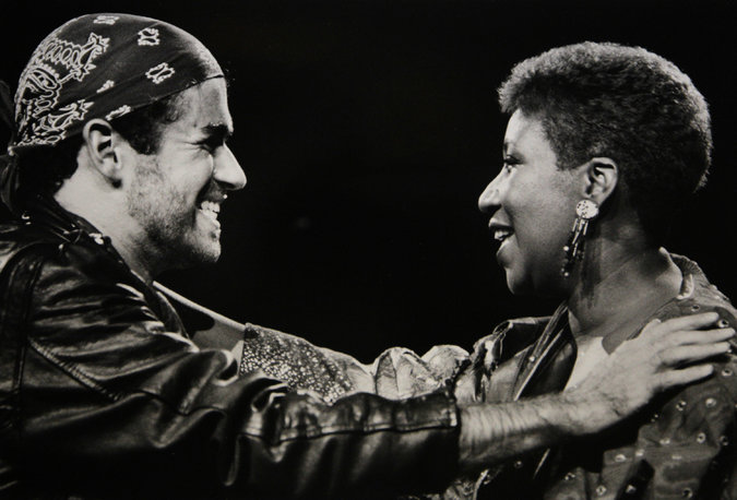 Michaels with Aretha Franklin 1988