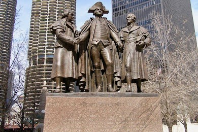 Chicago Illinois Monument to Washington Robert Morris and Haym Solomon photo S Gruber 2008 1