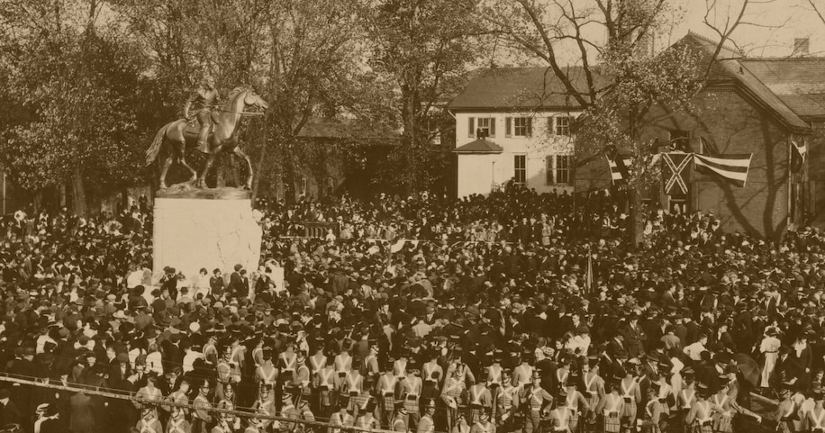 Thousands gathered for the unveiling of the monument to Gen. Thomas J. Stonewall Jackson on Oct