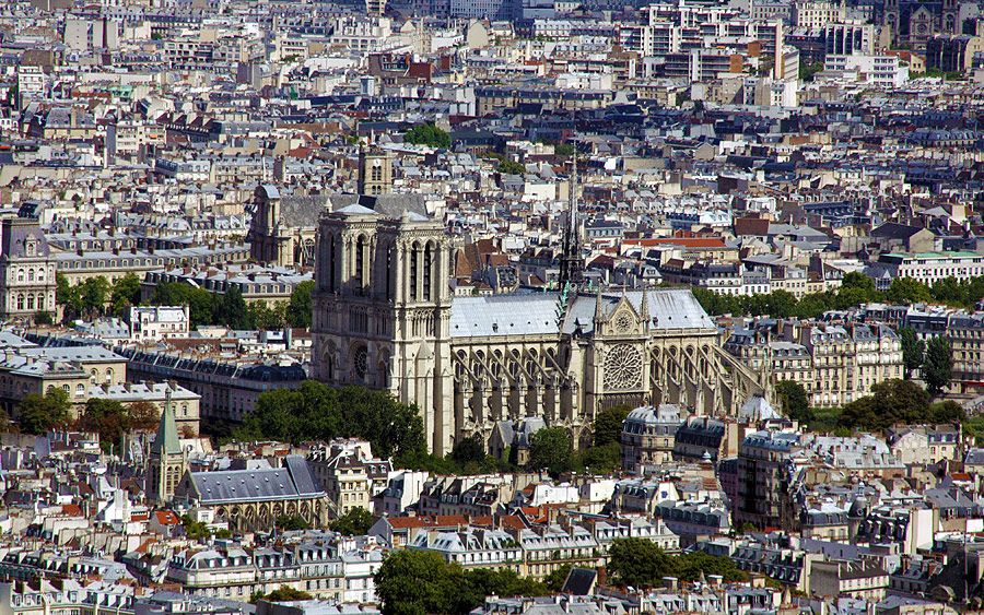 Notre dame view from Montparnasse Tower