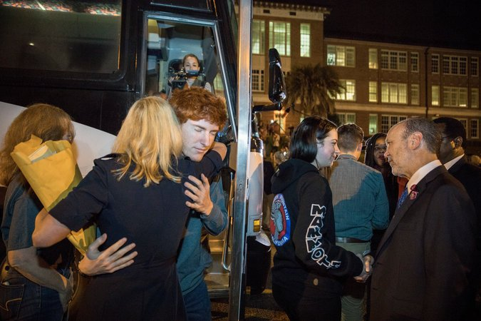 Ryan Deitsch greeted by State Senator Lauren Book in Tallahassee