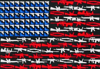 American flag with guns