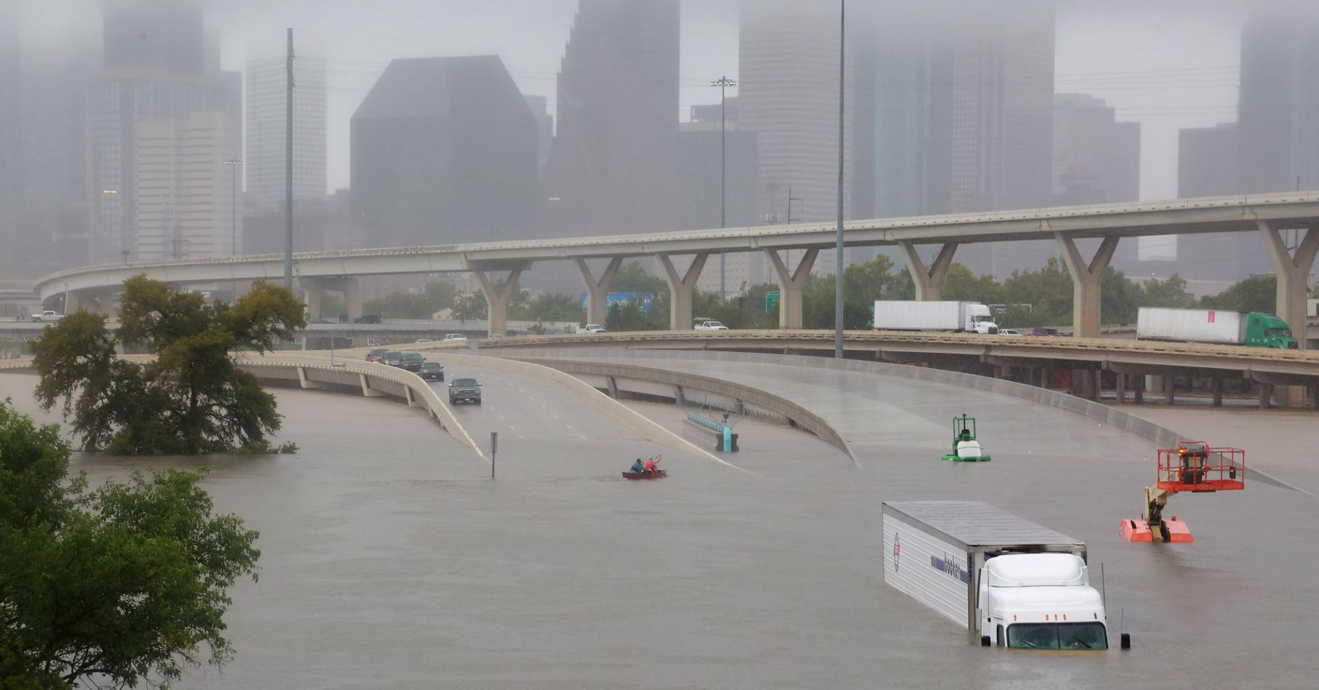 Houston Downtown Flooded
