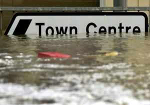 Center Town Sign under Water UK