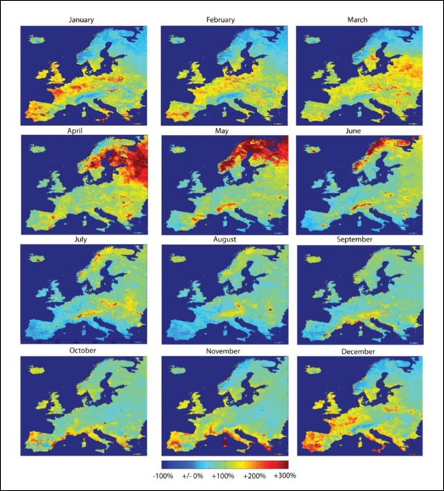 Climate Chart in Europe by Month