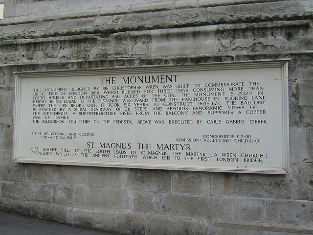 Inscription of the Monument to Fire 1666