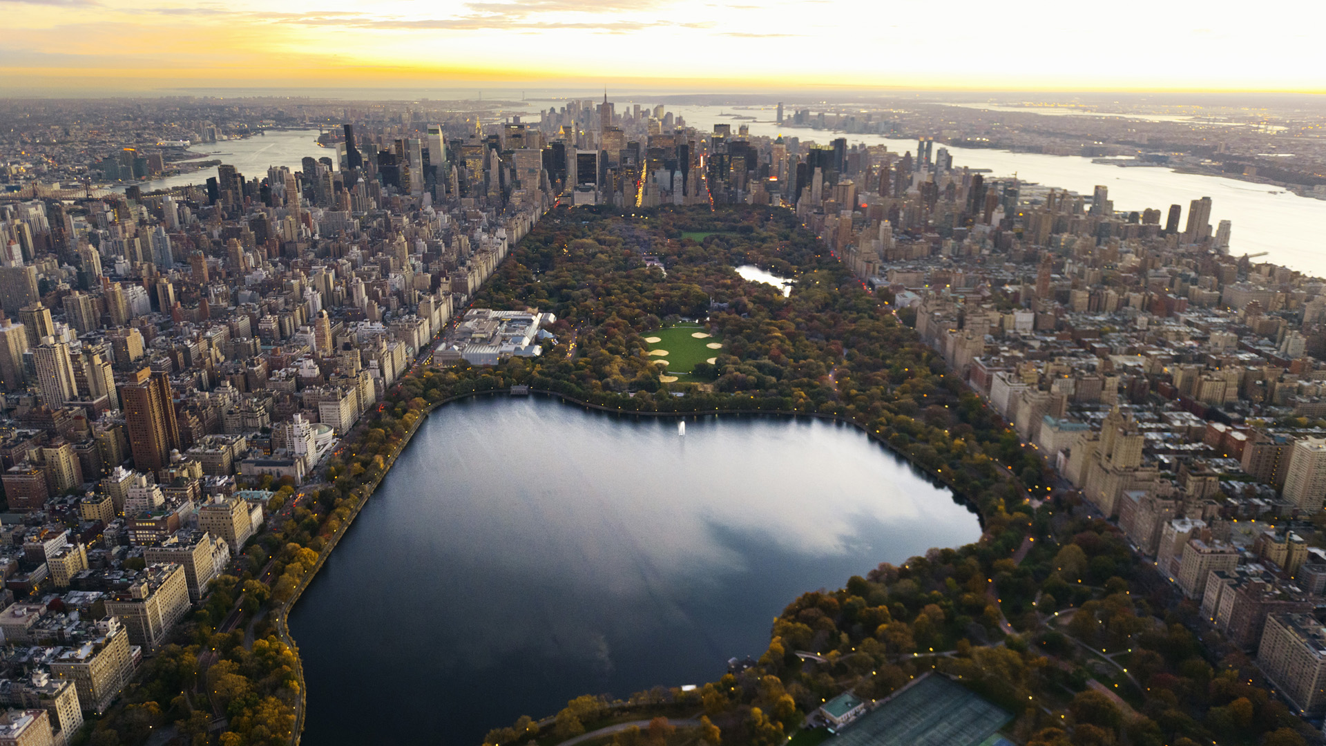 aerial view of central park and manhattan 2007 new york