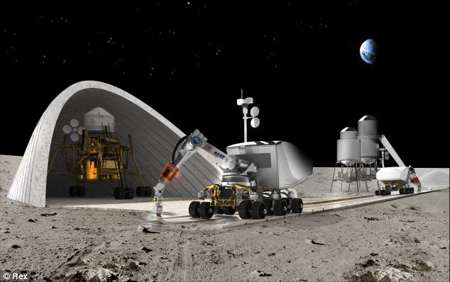 robots building Homes in the Moon