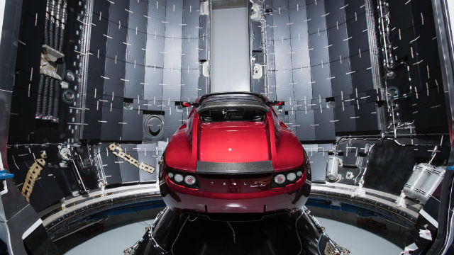 Roadster in Giant SpaceX Rocket