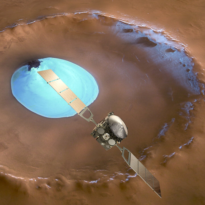 Mars Express over water ice crater 1