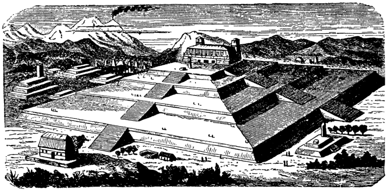 Cholula great pyramid drawing