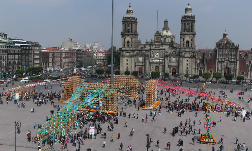 Zocalo and National Palace during Nov 2 2019