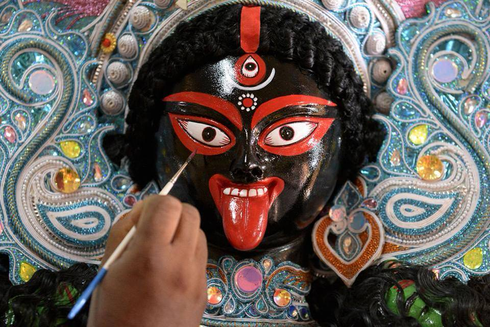 the Hindu Goddess Kali in Hyderabad. 1